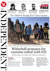 The Independent (UK) Newspaper Front Page for 2 February 2019