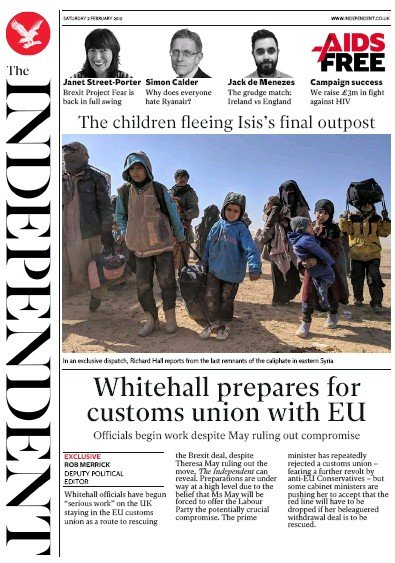 The Independent Newspaper Front Page (UK) for 2 February 2019