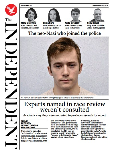 The Independent Newspaper Front Page (UK) for 2 April 2021