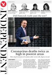 The Independent (UK) Newspaper Front Page for 2 May 2020