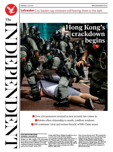 The Independent Newspaper Front Page (UK) for 2 July 2020