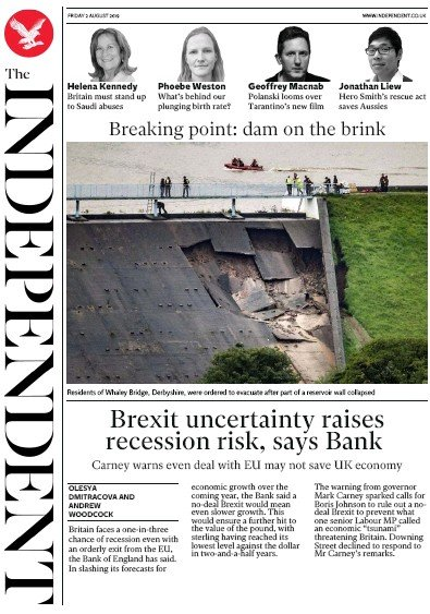 The Independent Newspaper Front Page (UK) for 2 August 2019