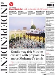 The Independent (UK) Newspaper Front Page for 2 September 2014