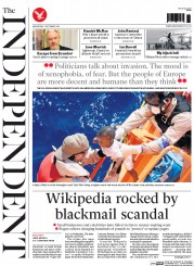 The Independent (UK) Newspaper Front Page for 2 September 2015