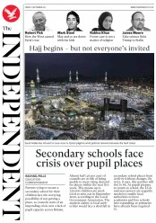 The Independent (UK) Newspaper Front Page for 2 September 2017