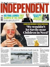 The Independent Newspaper Front Page (UK) for 30 October 2012