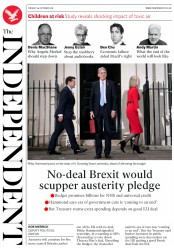 The Independent (UK) Newspaper Front Page for 30 October 2018