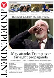 The Independent (UK) Newspaper Front Page for 30 November 2017