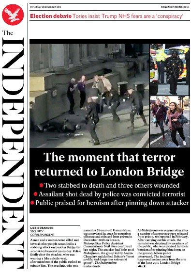The Independent Newspaper Front Page (UK) for 30 November 2019