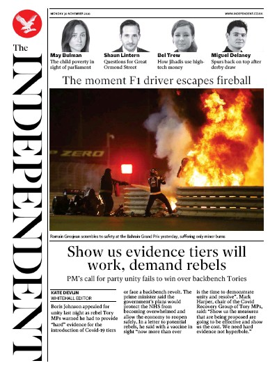 The Independent Newspaper Front Page (UK) for 30 November 2020