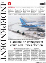 The Independent (UK) Newspaper Front Page for 30 January 2015