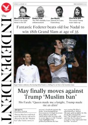 The Independent (UK) Newspaper Front Page for 30 January 2017
