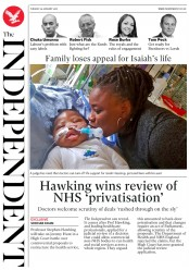 The Independent (UK) Newspaper Front Page for 30 January 2018