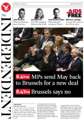 The Independent (UK) Newspaper Front Page for 30 January 2019
