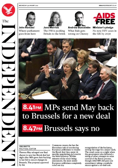 The Independent Newspaper Front Page (UK) for 30 January 2019