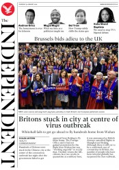 The Independent (UK) Newspaper Front Page for 30 January 2020