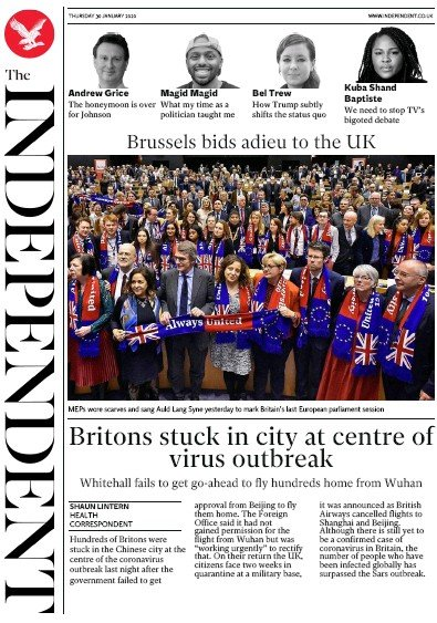 The Independent Newspaper Front Page (UK) for 30 January 2020