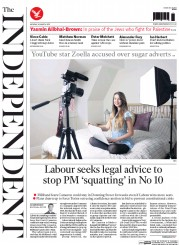 The Independent (UK) Newspaper Front Page for 30 March 2015