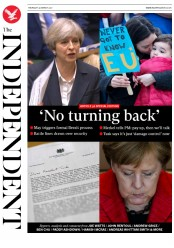 The Independent (UK) Newspaper Front Page for 30 March 2017