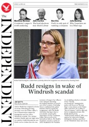 The Independent (UK) Newspaper Front Page for 30 April 2018