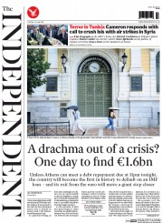 The Independent (UK) Newspaper Front Page for 30 June 2015