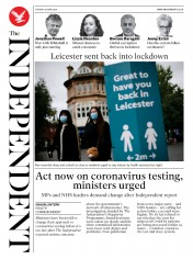 The Independent front page for 30 June 2020