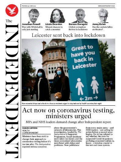 The Independent Newspaper Front Page (UK) for 30 June 2020