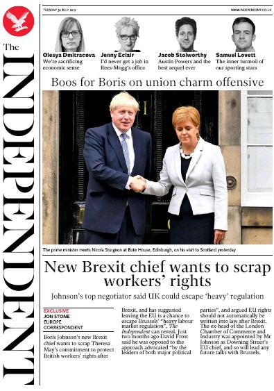 The Independent Newspaper Front Page (UK) for 30 July 2019