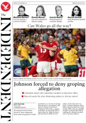 The Independent (UK) Newspaper Front Page for 30 September 2019