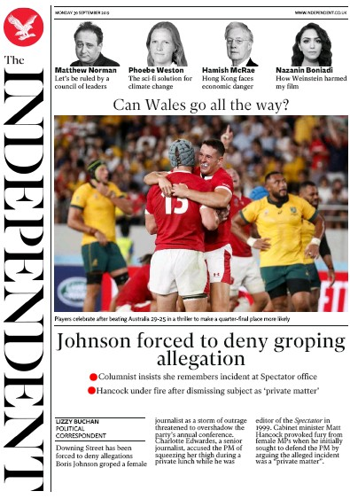 The Independent Newspaper Front Page (UK) for 30 September 2019