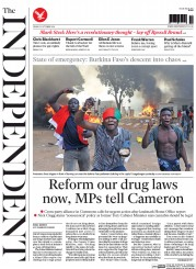The Independent (UK) Newspaper Front Page for 31 October 2014