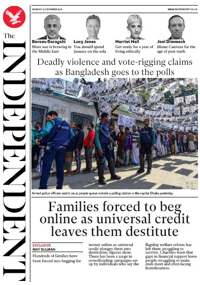 The Independent Newspaper Front Page (UK) for 31 December 2018
