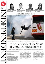 The Independent (UK) Newspaper Front Page for 31 January 2018
