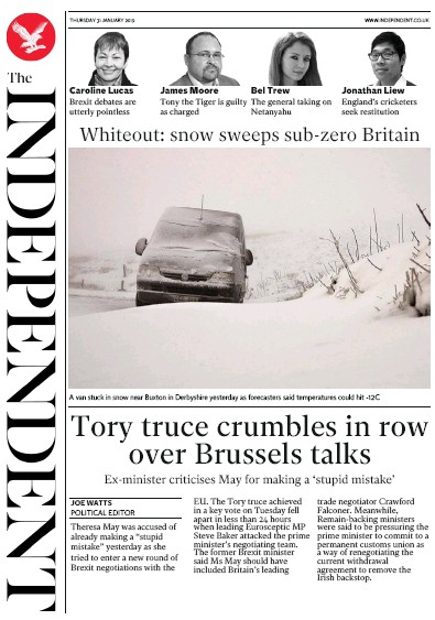 The Independent Newspaper Front Page (UK) for 31 January 2019