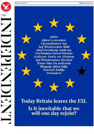 The Independent Newspaper Front Page (UK) for 31 January 2020