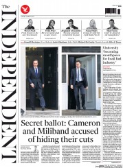 The Independent (UK) Newspaper Front Page for 31 March 2015