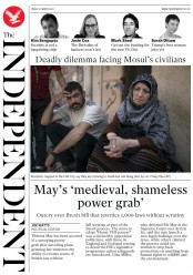 The Independent (UK) Newspaper Front Page for 31 March 2017