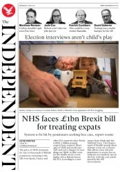 The Independent (UK) Newspaper Front Page for 31 May 2017