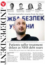 The Independent (UK) Newspaper Front Page for 31 May 2018