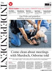 The Independent (UK) Newspaper Front Page for 31 July 2015