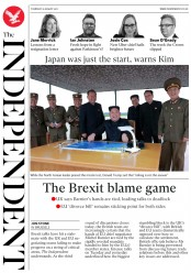 The Independent (UK) Newspaper Front Page for 31 August 2017