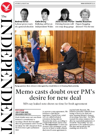 The Independent Newspaper Front Page (UK) for 31 August 2019