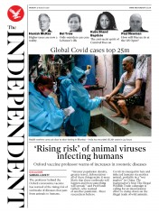 The Independent (UK) Newspaper Front Page for 31 August 2020