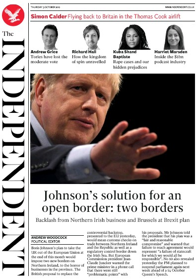 The Independent Newspaper Front Page (UK) for 3 October 2019