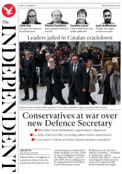 The Independent () Newspaper Front Page for 3 November 2017