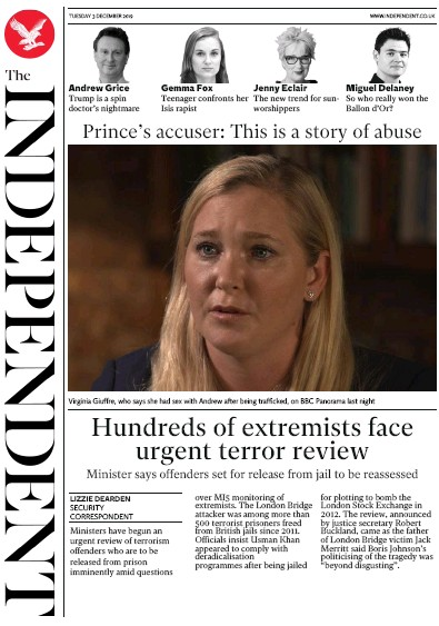 The Independent Newspaper Front Page (UK) for 3 December 2019