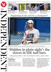 The Independent (UK) Newspaper Front Page for 3 January 2018