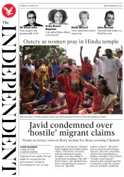 The Independent (UK) Newspaper Front Page for 3 January 2019