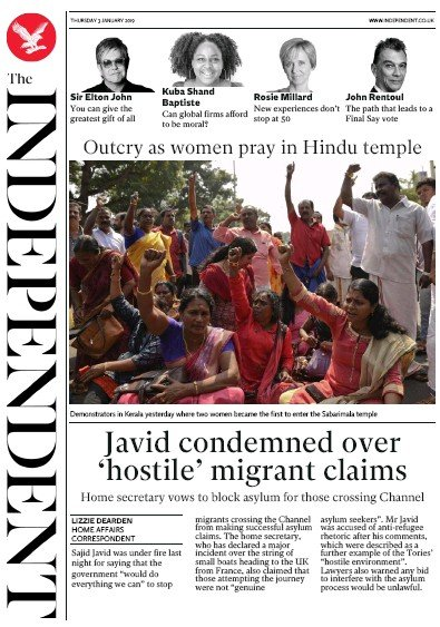 The Independent Newspaper Front Page (UK) for 3 January 2019