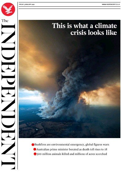 The Independent Newspaper Front Page (UK) for 3 January 2020